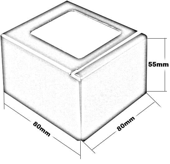 Balkonecke L-Form Höhe 55 Zeichnung