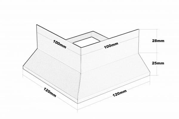 Balkonecke Y-Form Splitt Höhe 53 Zeichnung
