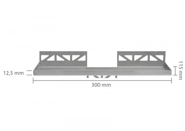 Edelstahlablage rechteckig 300x115 bemaßt