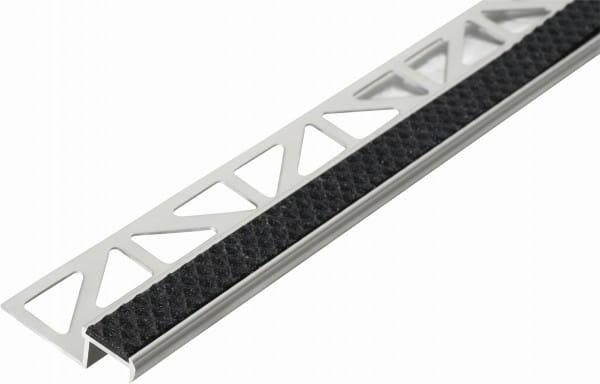 Treppenprofil aus Aluminium mit Antirutschbeschichtung 250 cm 9 mm nachtschwarz