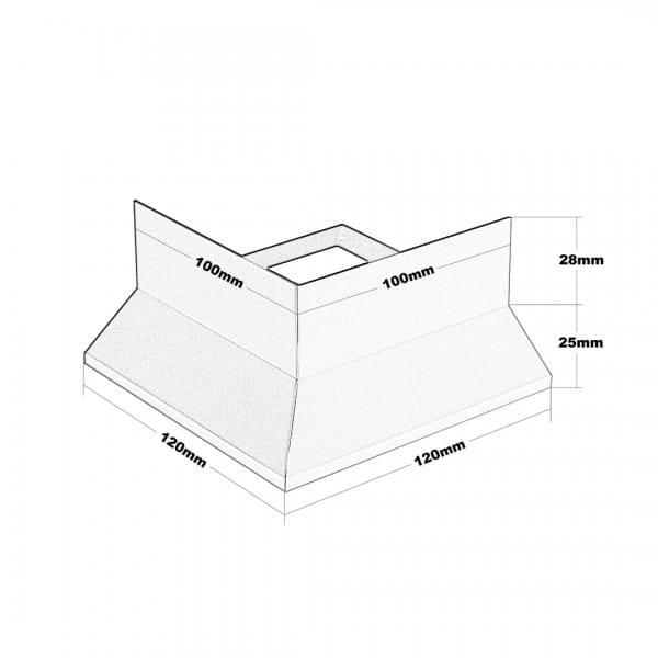 Balkonecke Y-Form Splitt Zeichnung Höhe 53