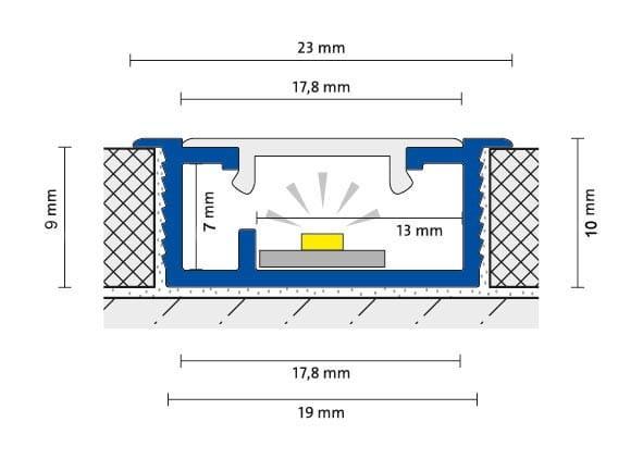 DURAL LED Abdeckung für Basisprofil Zeichnung