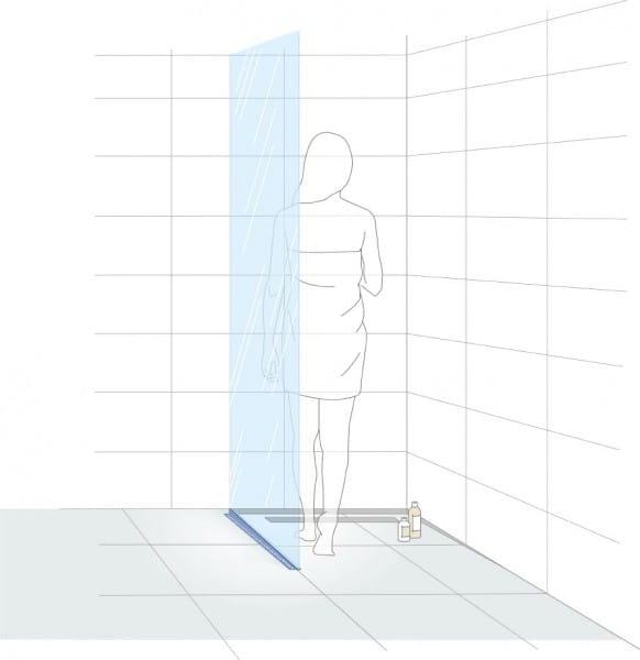 Gefällekeil Glasaufnahme links Illustration