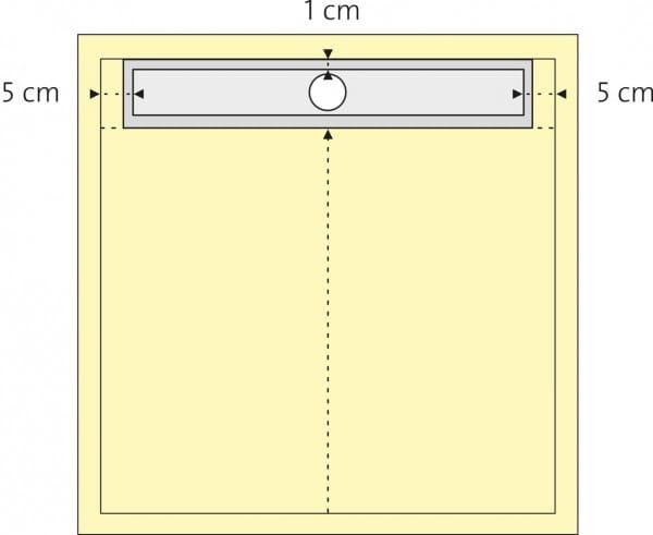 Duschboard quadratisch, 1-seitiges Gefälle bemaßt