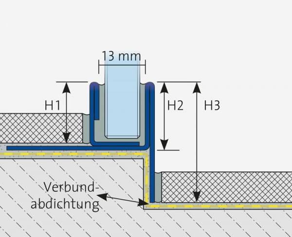 Gefällekeil zur Glasaufnahme links Zeichnung